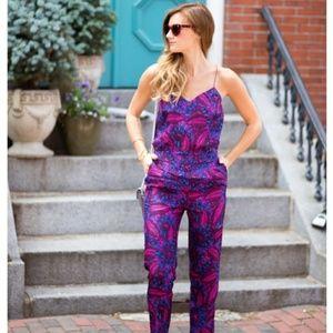 J.Crew Midnight floral silk jumpsuit